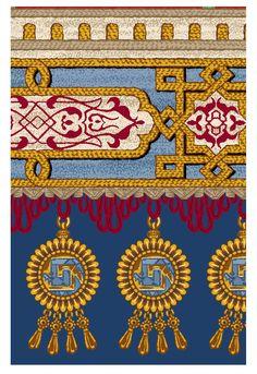 Flower Art Images, Stencil Painting On Walls, Vintage Borders, Cross Stitch Borders, Floral Border, Border Design, Tribal Art, Textiles, Textile Design