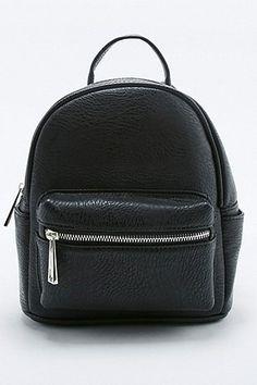 Black Vegan Leather Mini Backpack