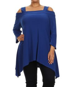 Loving this Royal Blue Cutout Sidetail Tunic - Plus on #zulily! #zulilyfinds