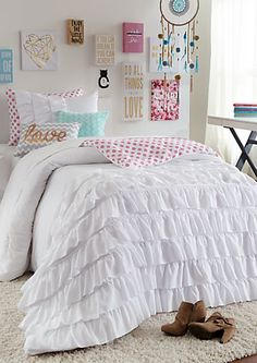Full - White Ruffled Floral Comforter Set | rue21