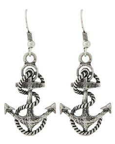 Vintage Silver Black Blue Red Nautical ANCHOR Crystal Jewellery Dangle Earrings