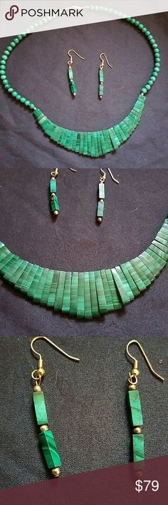 VTG Turquoise Earrings & Necklace 20' Dark Green Beautiful! Stunning! Classy! Dark Green Turquoise  Safety clasp on Necklace Jewelry Necklaces