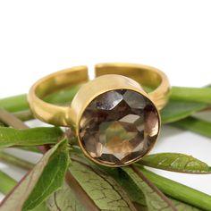 Lovely Smoky Quartz Round Shape Adjustable Yellow Gold Plated Rings For Women Handmade Wedding Rings, Handmade Rings, Brown Rings, Gold Rings, Sweet Ring, Smoky Quartz Ring, Gold Plated Bangles, Labradorite Ring, Amethyst Quartz