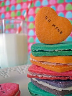 Conversation Heart Cookies: No more chalky candy! Make these delicious vanilla sandwich cookies stamped with custom messages. --> http://www.hgtv.com/entertaining/make-valentines-day-conversation-heart-cookies/index.html?soc=pinterest