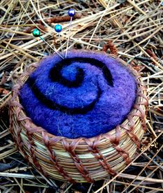 Pine Needle Basket and Wool Felted Pincushion