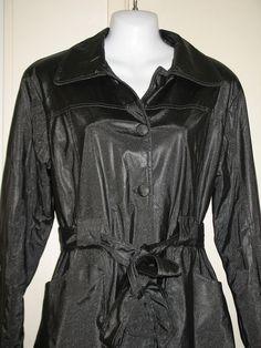 BB Jeans Los Angeles Womens Vinyl Black Glittery Long Sleeve Belted Jacket Large #BBJeans #BasicJacket
