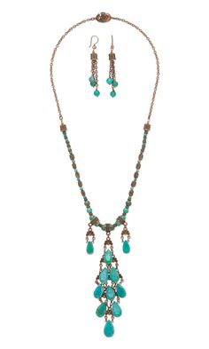 Jewelry Design - Single-Strand Necklace and Earring Set with Turquoise Gemstone Beads, Antiqued Copper Beads and TierraCast® Beads and Links - Fire Mountain Gems and Beads Turquoise Gemstone, Turquoise Jewelry, Gemstone Beads, Western Jewelry, Victorian Jewelry, Pendant Necklace, Strand Necklace, Antique Copper, Earring Set