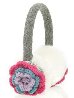 crochet flower ear muffs