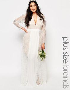 Fame and Partners Plus | Fame And Partners Plus Lace Heaven Maxi Dress With Split at ASOS