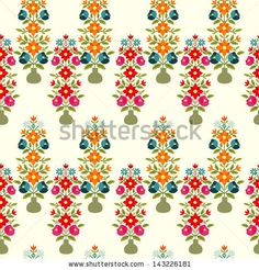 Seamless floral pattern with vases