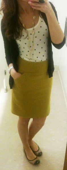 Mustard skirt WITH POCKETS and polka dots. >> I love this outfit, especially the skirt. Work swag for sure!