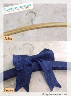 See this DIY here: http://customizando.net/customizacao-de-cabide-de-roupa-com-retalhos-jeans/