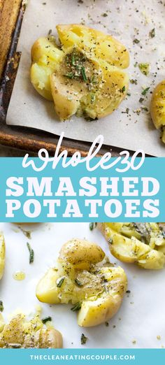 This Crispy Smashed Potatoes recipe is the perfect easy side dish to any healthy dinner. These potatoes are paleo, vegan, Whole30 friendly and easy to make. Baked in the oven until they're crispy on the outside   soft on the inside, everyone at your table will love these! I like to use fresh herbs, but you can add parmesan too! #vegan #paleo #whole30 #dairyfree #sidedish Side Salad Recipes, Side Dish Recipes, Snack Recipes, Savory Snacks, Potato Recipes, Vegetable Recipes, Dinner Recipes, Healthy Gluten Free Recipes, Paleo Vegan