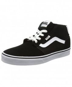 e7de8d3e20a504 VANS Chapman Mid Stripe Suede Canvas Trainers Black White