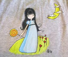 Handpainted T-Shirt / Camiseta de tirantes pintada a mano, Niña con piruleta por Regalopia en Etsy.