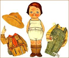 Paper Doll Billy Bumps as a Saluting Boy Scout. C 1920's-1930's. A Grace G. Drayton creation along with Dolly Dingle.