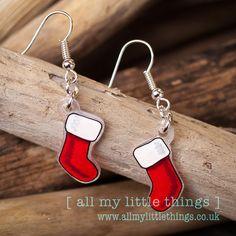 Christmas Stocking Earrings - hand drawn - ideal stocking filler - Quirky earrings, Xmas,dangle earrings,Santa Claus,Christmas Earrings
