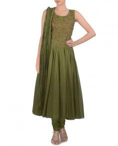 Leaf Green Anarkali Suit with Metallic Embellishments