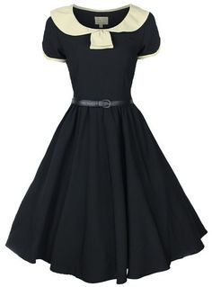 NEW CLASSY VINTAGE 1950s BLACK + CREAM COLLARED FLARED SWING PARTY EVENING DRESS | eBay