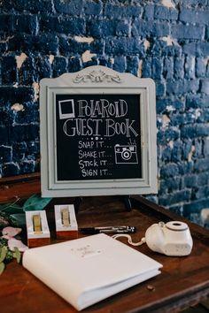vintage polaroids wedding guest book