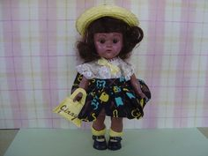 """VINTAGE 1956  RARE BLACK VOGUE GINNY DOLL wearing """"MERRY MOPPETS"""" #6035 #DollDollClothingAccessories"""