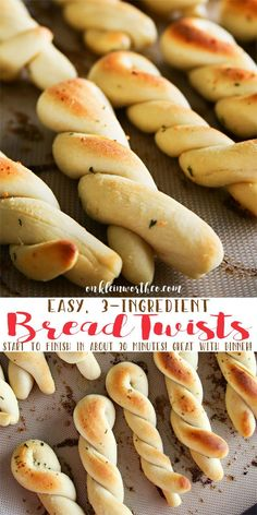 Easy 3-Ingredient Bread Twists ~ simple to make & take about 30 minutes from start to finish...the perfect side with any dinner and great for holidays or parties!