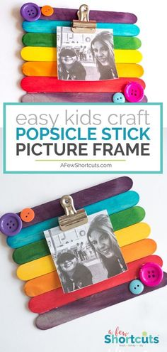 This easy kidscraft is so much fun! Learn how to make a DIY Popsicle Stick Picture Frame quickly and easily. Add magnets to stick it on the fridge! #diy #kidscraft #crafts #summerfun