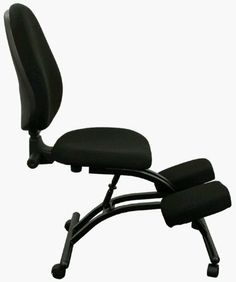 Ergonomic Kneeling Posture Office Chair w Back & Wheels by Everlast Furniture. $140.00. Back Size: 18''W x 21''H. Knee Size: 19''W x 11''D x 2''T. Overall Max: 19''W x 32''D x 43'' - 50''H. Seat Size: 18''W x 17''D x 2''T. Thick Padded Seat, Back and Knee Rest Provide Firm Support.  Adjustable Back Angle.  Adjustable Back Height.  Adjustable Seat Height.  Black Fabric.  Black Powder Coated Steel Frame.  Dual Wheel Casters.  This Chair meets and/or exceeds ANSI/BIFMA standards.
