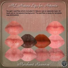 This is a Merchant Resource for creating beautiful lips for your characters for Antonia.  You get 1 psd-file which includes:    -31 Natural Lips on separate layers.