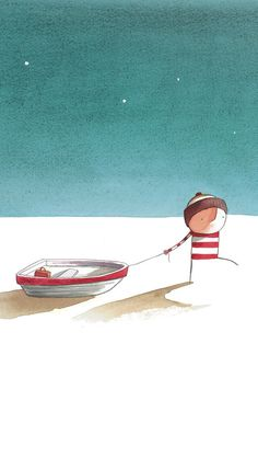 Oliver Jeffers, Lost and Found an illustrator and childrens book author that I greatly admire. His innocent stories and softly drawn characters are the way that I hope to approach my twenty second story of The Waiting Room.