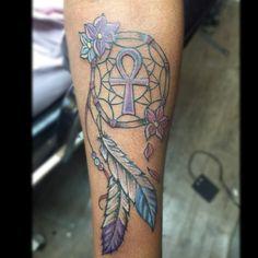 custom ankh dream catcher by ray_tattoos (instagram) one of the artist @ islandcity tattoos