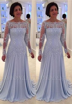 Elegant A-line Lace Long-Sleeve Mother-the-bride Dress Mother Of The Bride Dresses Long, Mother Of Bride Outfits, Mothers Dresses, Long Mothers Dress, Mother Bride Dress, Brides Mom Dress, Plus Size Prom Dresses, Mob Dresses, Fashion Dresses