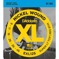 Daddario EXL125 Nickel Wound Super Light Top/ EXL125 is DAddarios best selling hybrid set - a set with strong fundamental low end with lots of projection but with super flexibility on the high strings. (Barcode EAN=0019954141301) http://www.MightGet.com/march-2017-1/daddario-exl125-nickel-wound-super-light-top-.asp