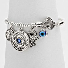 Hamsa Hand Evil Eye Bracelet Twisted Metal Bangle BLUE SILVER