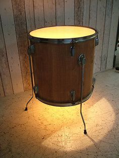 Upcycled Drum Side Table Coffee Table Bedside Table Lamp Light