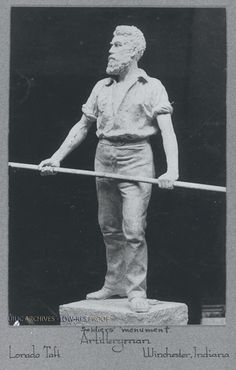 """Soldiers' Monument - Artilleryman, (Winchester, IN), 9"""" x 6"""", 1889."""