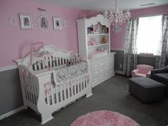 Pretty Princess Pink Nursery Room: We skipped the butterfly and flower themed bedding found in Babies R Us and Buy Buy Baby and chose a damask print bedding online that we really fell in