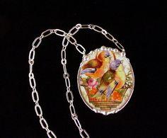 Broken china jewelry necklace bluebirds