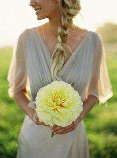 Giant single stem wedding bouquet. Visit www.rosetintmywedding.co.uk for bespoke wedding planning and design UK.