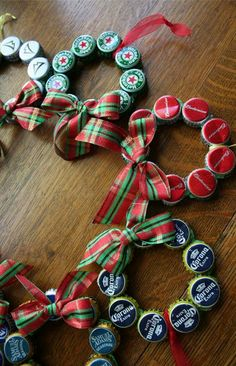 """Bottle cap wreaths: Another exception to the """"full bottle"""" rule."""