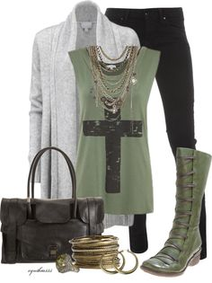 A fashion look from October 2012 featuring Dorothy Perkins jeans, Miz Mooz boots and Proenza Schouler handbags. Browse and shop related looks. Mode Outfits, Casual Outfits, Fashion Outfits, Womens Fashion, Green Boots, Military Green, How To Look Pretty, What To Wear, Autumn Fashion