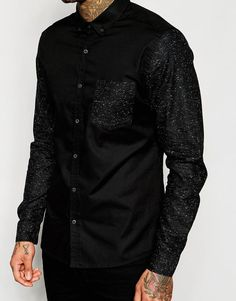 ASOS | ASOS Skinny Shirt in Black with Contrast Long Sleeves at ASOS
