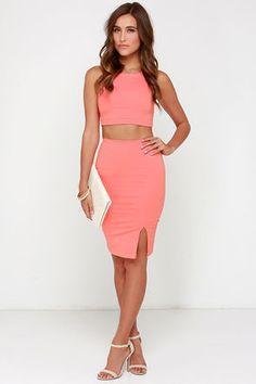 Sexy Coral Dress - Two-Piece Dress - Bodycon Dress - $48.00