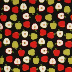 black apple fruit fabric by Robert Kaufman from the USA