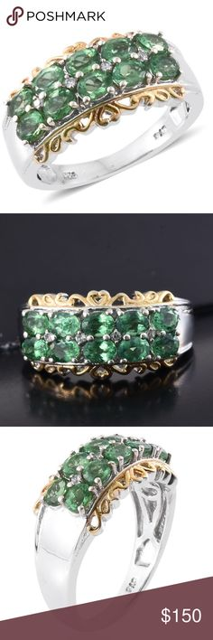 Emeraldine Apatite, Zircon Sterling Silver Size 6 New! Artisan Retail $419.99 Emeraldine Apatite, Cambodian Zircon 14K YG and Platinum Over Sterling Silver Ring (Size 6.0) TGW 2.04 cts 31824 Spruce up your personality with this emeraldine apatite ring. Accented with Cambodian zircon, the piece is set in 14K yellow gold and platinum over sterling silver. Pair it with any outfit. You are assured of a look that will never go unappreciated. Cocktail Business work casual fashion chic attire…