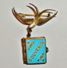 Vintage Blue Enamel Souvenir London Book Locket Brooch