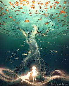 Путь каждой души в царство мертвых, лежит через их воспоминания Art Reference, Concept Art, Fisheye Placebo, Underwater Drawing, Underwater Wallpaper, Fantasy Landscape, Anime Art Fantasy, Doodle Drawing, Paisajes Anime