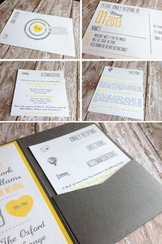 #pocketinvitation Pocket wedding invitation, yellow and gray wedding invitations, vintage invitations, modern invitations  Www.rpsdesigns.blogspot.com