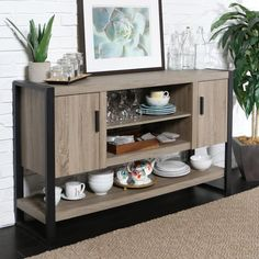 Forest Gate Zeke Industrial Modern Wood Metal Tv Stand Console In Driftwood - The Urban Blend Buffet/TV Console from Forest Gate is the essence of modern industrial design trends with contrasting steel frame and thick, wood grain textured planks. Buffet Console, Tv Stand Console, Sideboard, Buffet Tables, Sofa Tables, Console Tables, Bar Furniture, Furniture Deals, Online Furniture