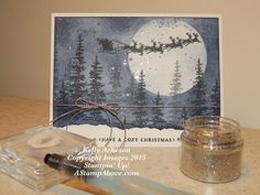 Glitter Splatter Technique -This is such an amazing look - MAGICAL!!! I have a video tutorial on my blog here:  http://astampabove.typepad.com/my-bl...technique.html  Hope on over to check it out and purchase any products you may need to give it a try!  Thanks for looking...  Wonderland, Cozy Christmas, Stampin' Up! Glitter Splatter Technique